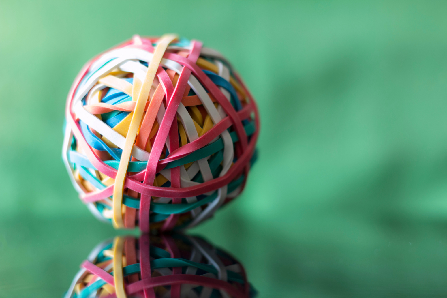 Close Up Of Ball Of Rubber Bands